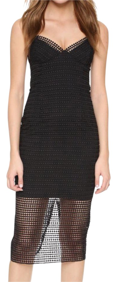 Nicholas Black Dot Lace Sheath Slip Short Cocktail Dress Size 0 Xs
