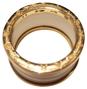 BVLGARI BVLGARI B.zero 1 4-band 18kt rose gold ring with white ceramic