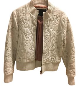 Rocawear Bomber Off White Leather Jacket