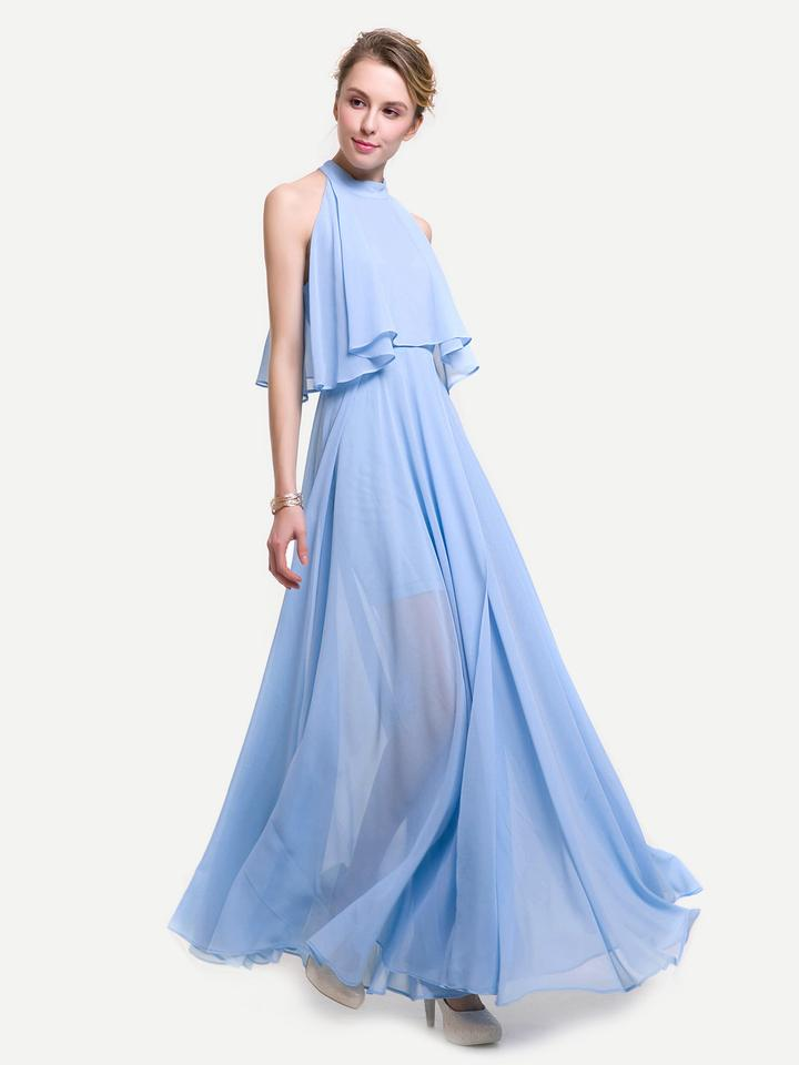 b1b729d3dcaa1 Blue Split Front Chiffon Layered Halter Long Casual Maxi Dress Size ...
