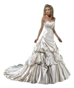 Maggie Sottero Diamond White Satin J1423 Montana Traditional Wedding Dress Size 14 (L)