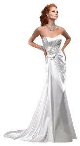 Maggie Sottero Diamond White Satin R1149 Vintage Wedding Dress Size 10 (M)