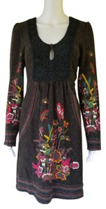 Aryeh short dress Brown, Multi Knit Boho Brown Tunic Floral on Tradesy