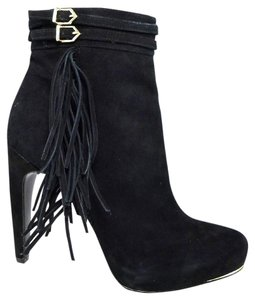 Sam Edelman Hidden Platform Suede Stiletto Ankle Strap Black Boots