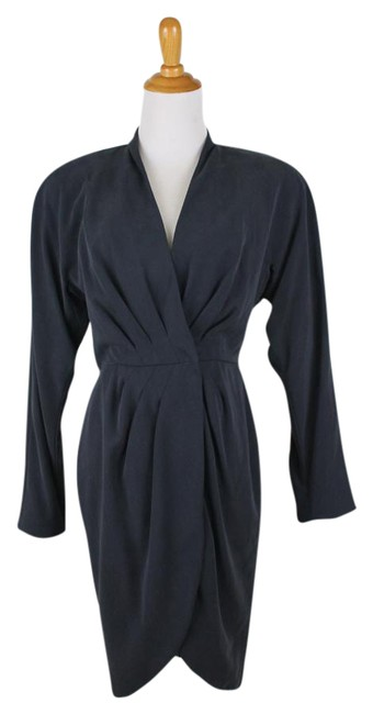 Item - Gray Florine By Wachter Vintage Charcoal Long Sleeve Short Cocktail Dress Size 2 (XS)