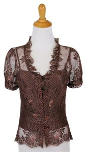 MILLY Lace Sheer Peplum Short Sleeves Top Copper