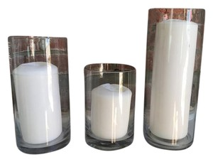 "3"" White Pillar Candles & 4"" Cylinder Vases (set Of 18)"