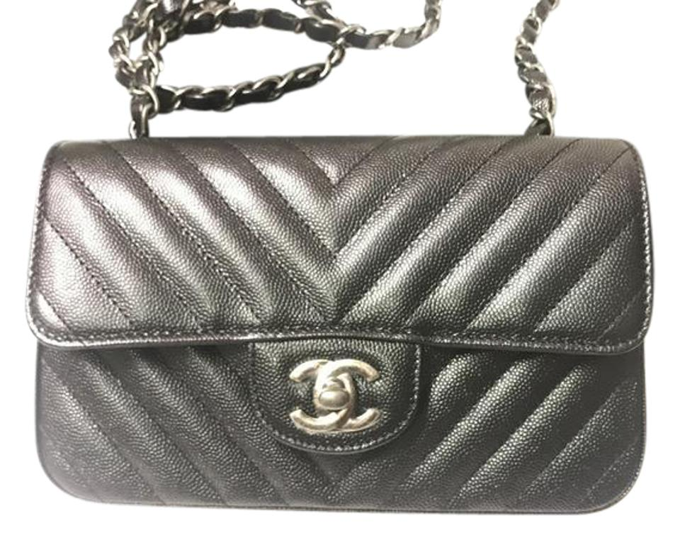 0b0be6305394 Chanel Mini Flap Iridescent Black Caviar Leather Cross Body Bag ...