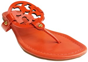 a5ab4f18e931 Tory Burch Miller Reva Logo Gold Hardware Patent Leather Orange Sandals