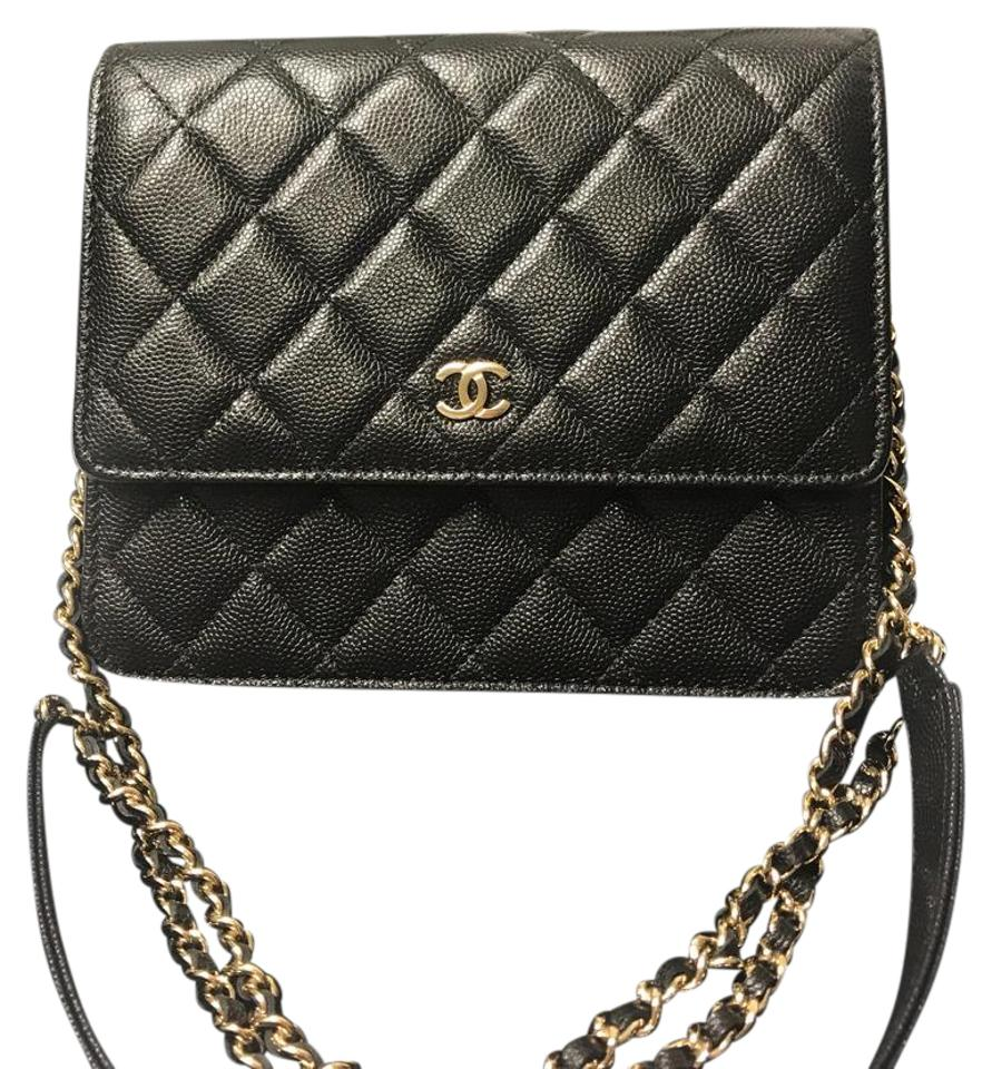 Chanel Wallet On Chain New Square Woc Black Leather Cross Body Bag 25 Off Retail