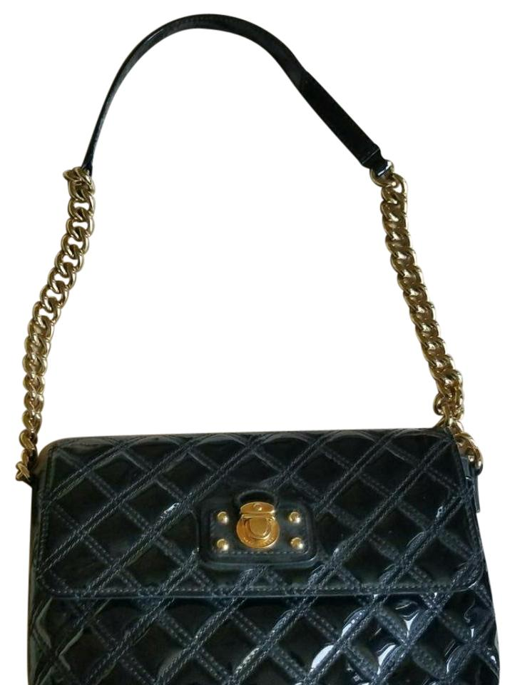 94fe3c7f3a08 Marc Jacobs New Quilted Gold Chain Black Patent Leather Cross Body ...
