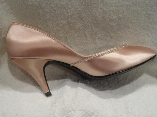 Tintables Elegant Crystal Embellished Silk/satin Slim Heels Light Peach Pumps
