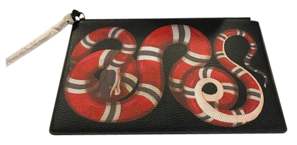 31006e94eff00b Gucci Snake Red Leather Clutch - Tradesy