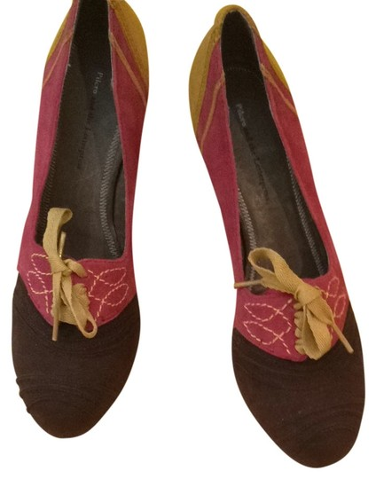 Anthropologie Brown, Raspberry Pink And Yellow Gold. Platforms