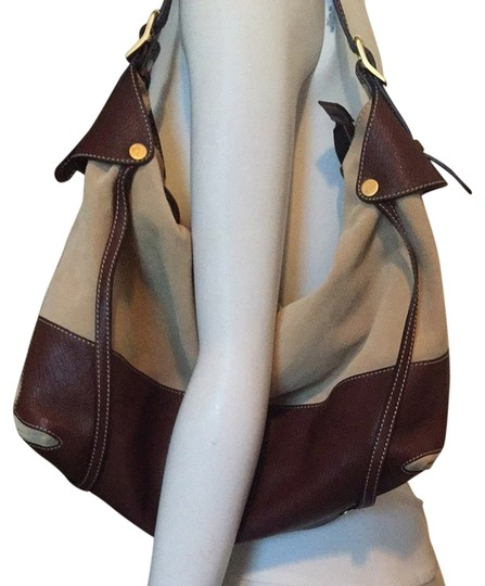 Preload https://item2.tradesy.com/images/escada-tanbrown-suede-and-leather-shoulder-bag-2193986-0-0.jpg?width=440&height=440