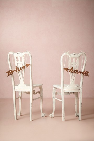 BHLDN Brown His and Hers Sightline Chair Signs Reception Decoration Image 1