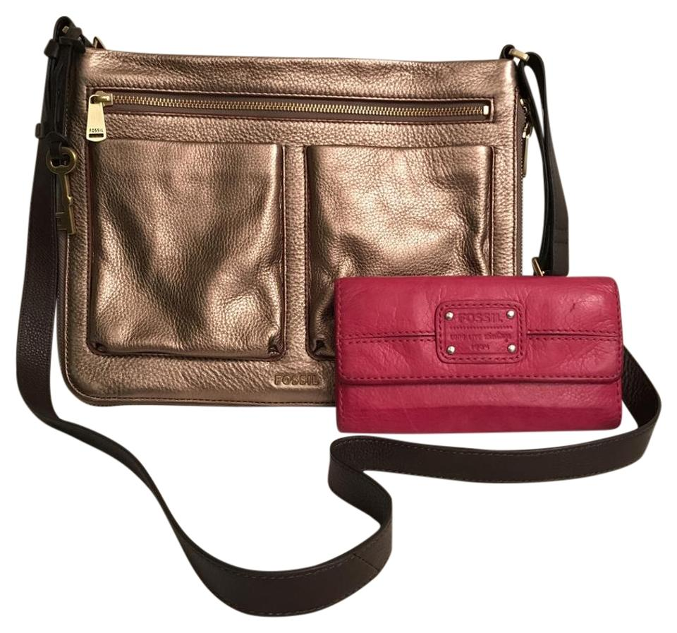 aafbf073029551 Fossil Piper Expandable & Wallet Gold Bronze Leather Cross Body Bag ...