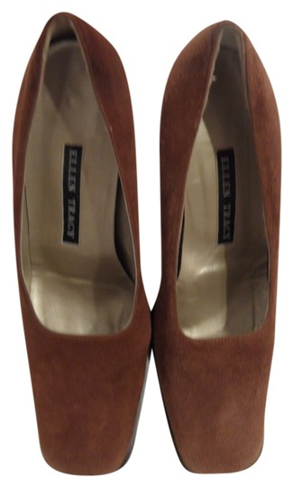 Ellen Tracy Suede Chunck Heel Three Inch Square Toe Dress Work Brown Pumps