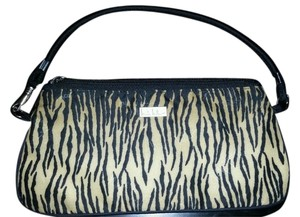 Nicole Miller Case Pouchette Makeup Vintage Ladies Girls Eva Milla Noe Turenne Tan Gold Black Zebra Stripes Clutch