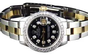 Rolex Ladies Datejust Oyster Band 26MM Diamond Watch 18k/Steel Band 2.15 Ct