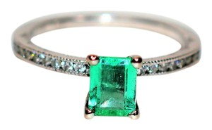 Tacori Tacori 1.10tcw Colombian Emerald & Diamond 18kt White Gold Ring