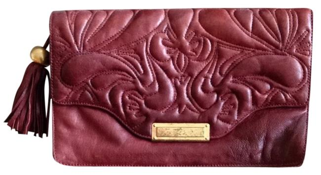 Item - Embroidered Oversized Maroon Leather Clutch