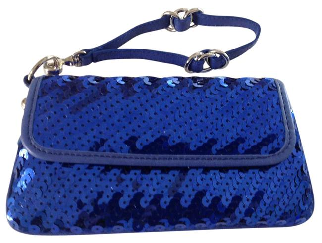 Item - Sequined Made In Italy Blue Leather Clutch