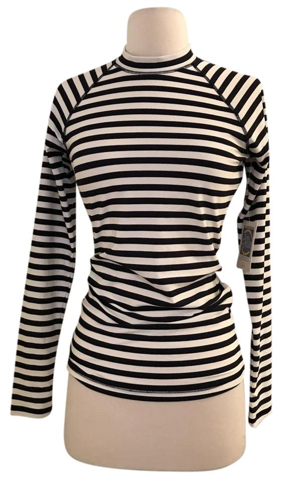 079ba117cb J.Crew Black Ivory Long-sleeve Rash Guard In Classic Stripe Cover-up ...