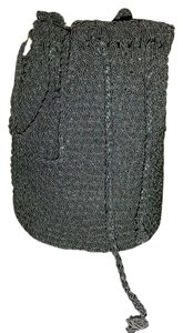 The Sak Crochet Black Crossbody Handbag Girls Ladies Medium Hobo Bag