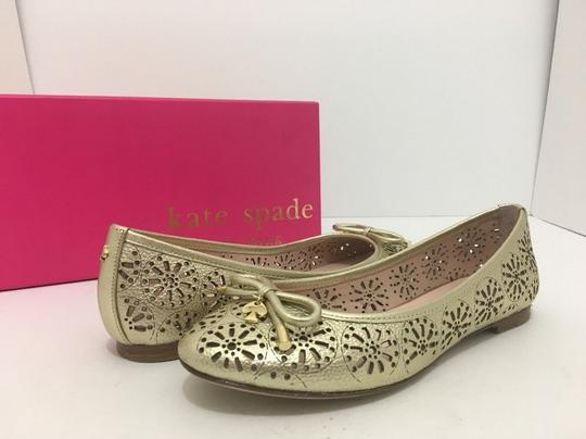 Kate Spade Slip On 6 Gold Metallic Leather Flats Image 1