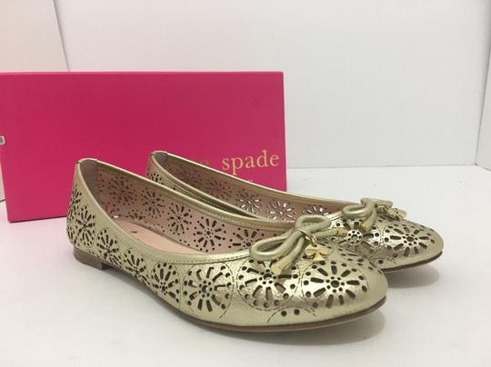 Kate Spade Slip On 6 Gold Metallic Leather Flats Image 11