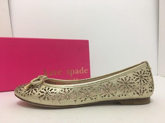 Kate Spade Slip On 6 Gold Metallic Leather Flats Image 2