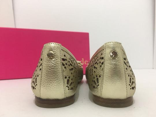 Kate Spade Slip On 6 Gold Metallic Leather Flats Image 3