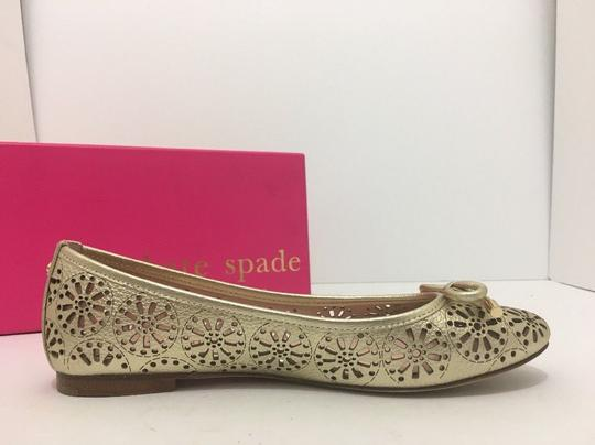 Kate Spade Slip On 6 Gold Metallic Leather Flats Image 4