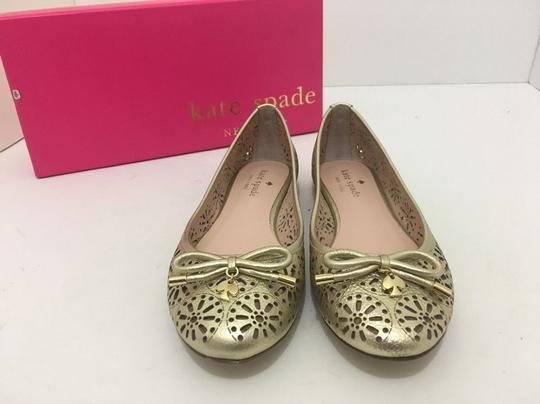 Kate Spade Slip On 6 Gold Metallic Leather Flats Image 5