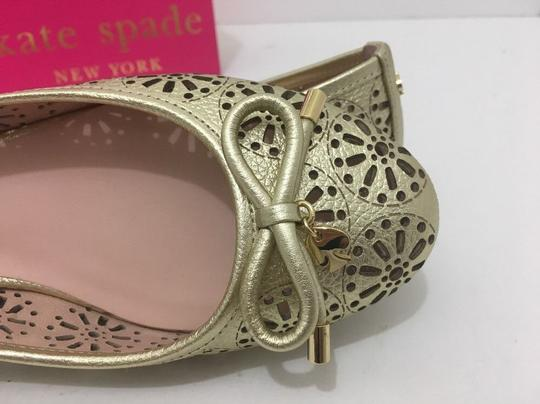 Kate Spade Slip On 6 Gold Metallic Leather Flats Image 7