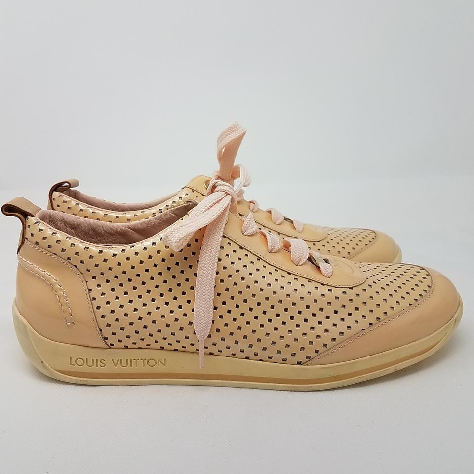 Louis vuitton beige pink gold nude patent leather perforated round jpg  960x960 Louis vuitton pink shoes ab3f4a324ee