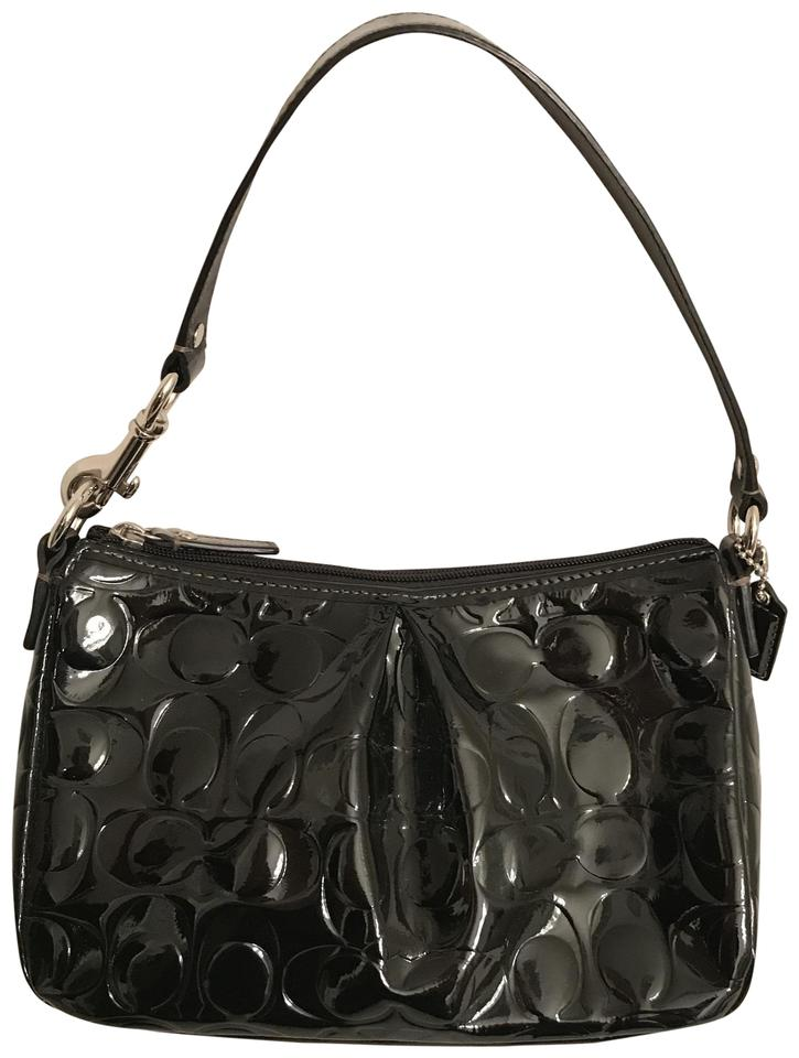 343f2375352 Coach Hobo Embossed Signature Logo Cc Black Silver Patent Leather Shoulder  Bag