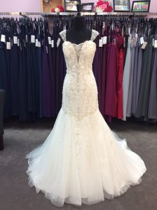 Alfred Angelo Ivory/ Silver Tulle with 253 Tiana Sexy Wedding Dress Size 14 (L)
