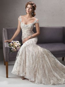 Sottero and Midgley Ivory/Silver/Light Gold Lace Ettiene Formal Wedding Dress Size 8 (M)