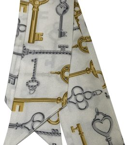 Tiffany & Co. Tiffany White Silk Key Motif Scarf