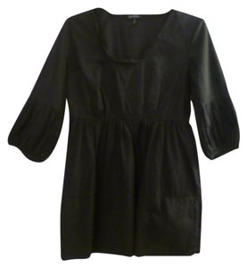 Daisy Fuentes Peasant Lightweight Gathered Pockets Top black