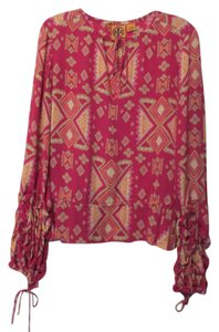 Tory Burch Long Silk Ruched Keyhole Tunic