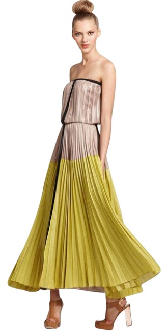 Item - Beige and Chartreuse Lilyan Strapless Pleated Long Night Out Dress Size 2 (XS)