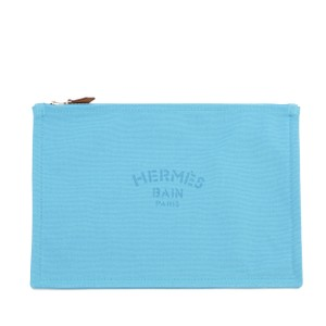 Herms Hermes Cotton Canvas Travel Case Bag GM in Blue Horizon