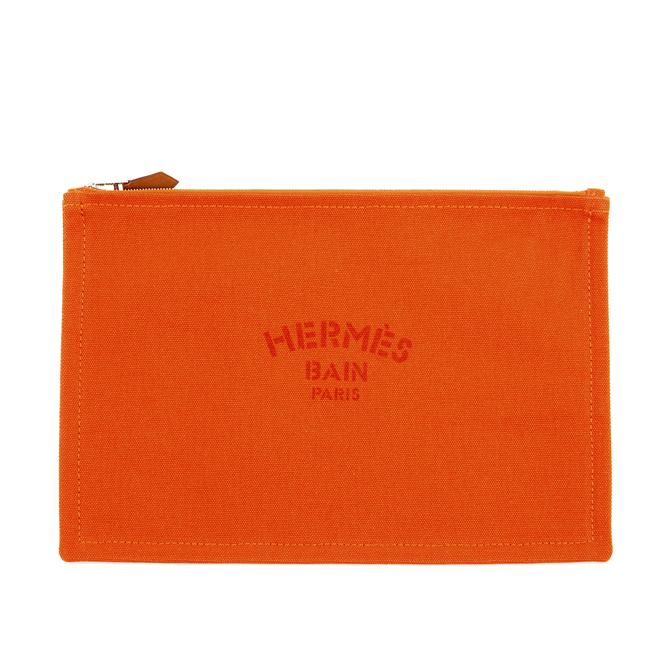 Item - Orange Travel Case Gm Size In Fire Canvas Cosmetic Bag