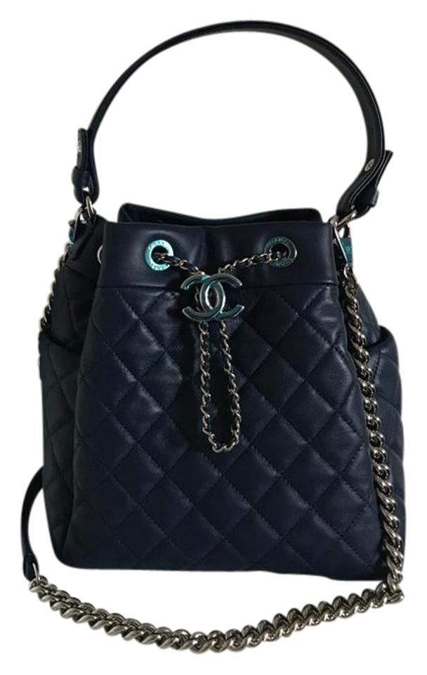 43220ecc5b3f Chanel Drawstring Bucket Small Quilted Navy Blue Lambskin Leather ...