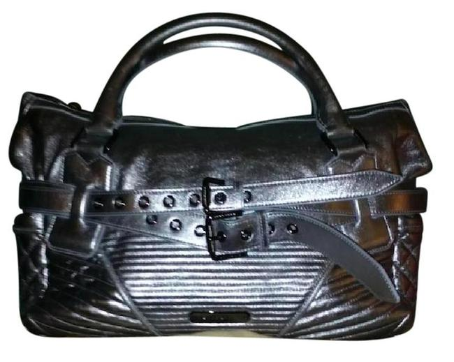 Item - Quilted Biker Motorcycle Silver Lambskin Leather Satchel