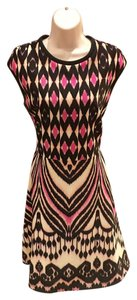 Just Taylor short dress off white, pink, and black on Tradesy