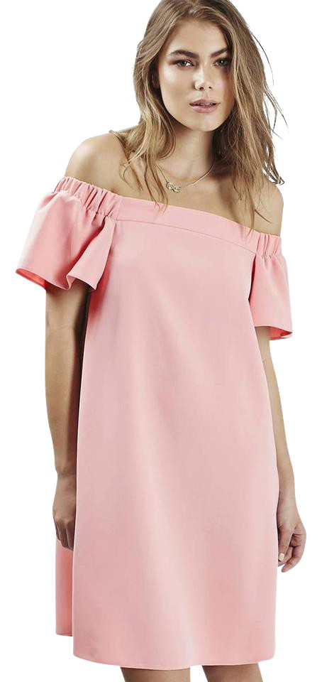 Topshop Light Pink   Blush Off The Shoulder Short Casual Dress Size ... 92b9419e042c